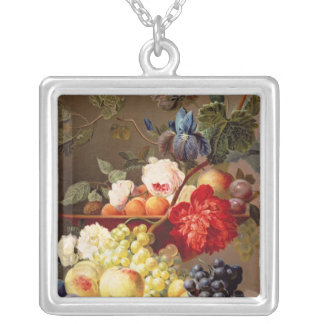Still life with fruit and flowers silver plated necklace