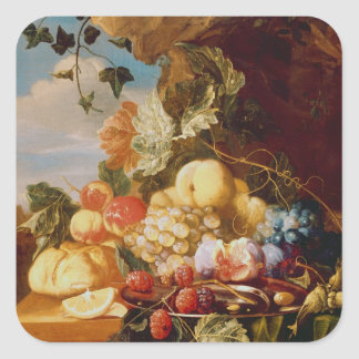 Still life with fruit and flowers square sticker