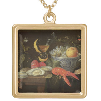Still Life with Fruit and Shell Fish, 1653 (oil on Gold Plated Necklace