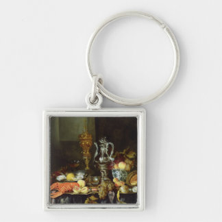 Still Life with Fruit and Shellfish Silver-Colored Square Key Ring