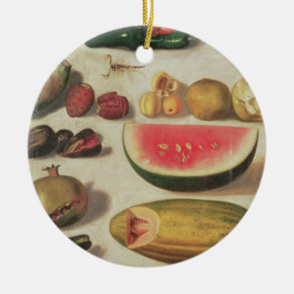 Still Life with Fruit and Toad Round Ceramic Decoration