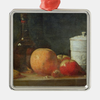 Still Life with Fruit and Wine Bottle Silver-Colored Square Decoration