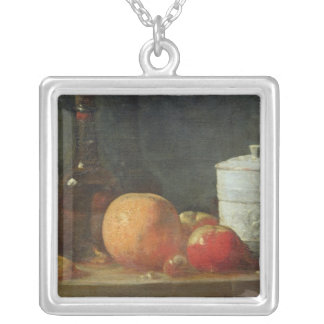 Still Life with Fruit and Wine Bottle Silver Plated Necklace