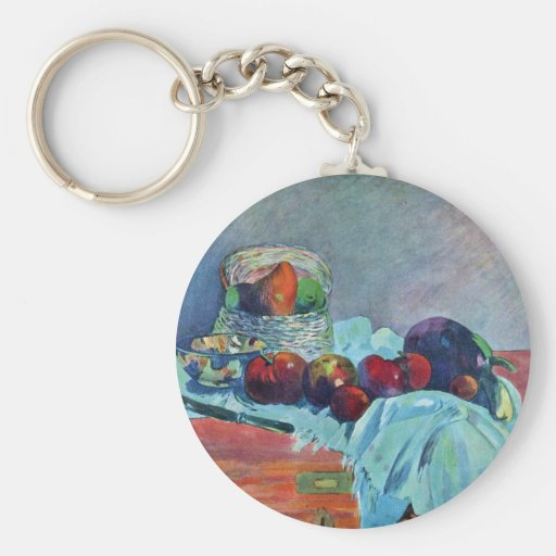 Still Life With Fruit Basket And Knife By Gauguin Basic Round Button Key Ring