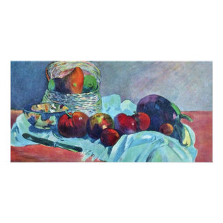 Still Life With Fruit Basket And Knife By Gauguin Personalized Photo Card