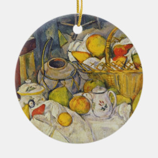 Still Life with Fruit Basket Round Ceramic Decoration