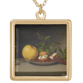Still Life with Fruit, Cakes and Wine, 1821 Gold Plated Necklace