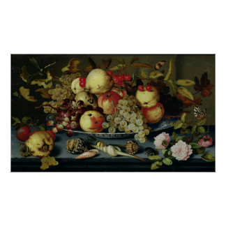 Still Life with Fruit, Flowers and Seafood Poster