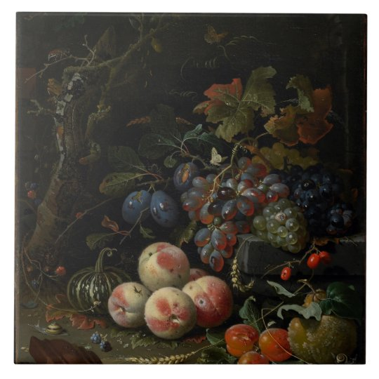 Still Life with Fruit, Foliage and Insects, c.1669 Large Square Tile