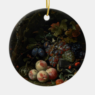 Still Life with Fruit, Foliage and Insects, c.1669 Round Ceramic Decoration