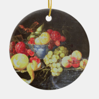 Still Life with Fruit in Delft Bowl, Including a P Christmas Ornament