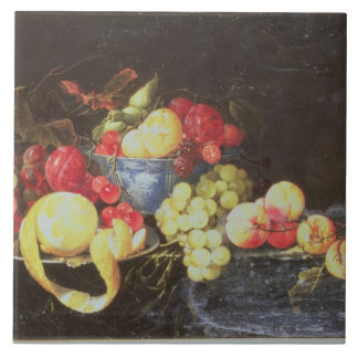 Still Life with Fruit in Delft Bowl, Including a P Large Square Tile