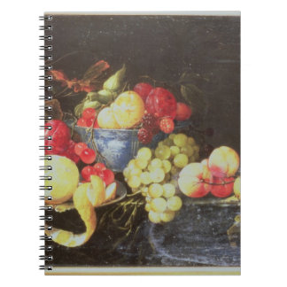 Still Life with Fruit in Delft Bowl, Including a P Spiral Notebook