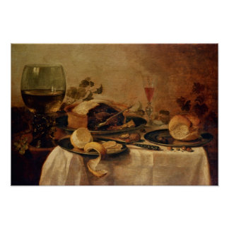 Still Life with Fruit Pie, 1635 Poster