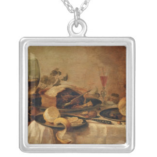 Still Life with Fruit Pie, 1635 Silver Plated Necklace