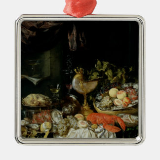 Still Life with Fruit Silver-Colored Square Decoration