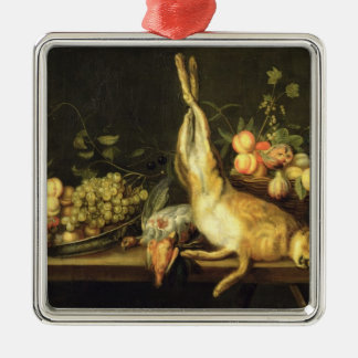 Still Life with Game and Fruit Silver-Colored Square Decoration