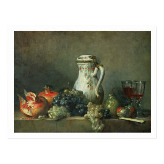 Still Life with Grapes and Pomegranates, 1763 (oil Postcard