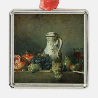 Still Life with Grapes and Pomegranates, 1763 (oil Silver-Colored Square Decoration