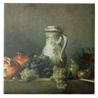 Still Life with Grapes and Pomegranates, 1763 (oil Tile