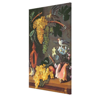 Still Life with Grapes, Birds and flowers Canvas Print