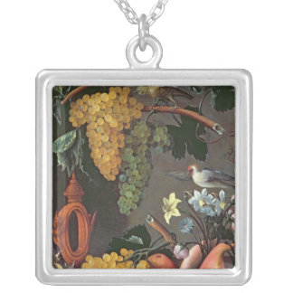 Still Life with Grapes, Birds and flowers Silver Plated Necklace