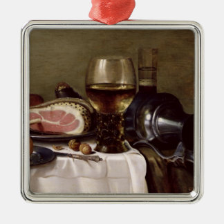 Still Life with Ham 2 Silver-Colored Square Decoration