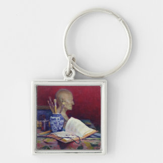 Still Life with Head of Voltaire Silver-Colored Square Key Ring