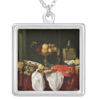 Still Life with lobster Silver Plated Necklace