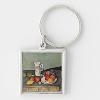 Still life with milk jug and fruit, c.1886-90 (oil Silver-Colored square key ring
