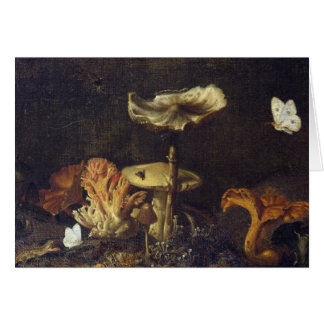 Still Life with Mushrooms and Butterflies Card