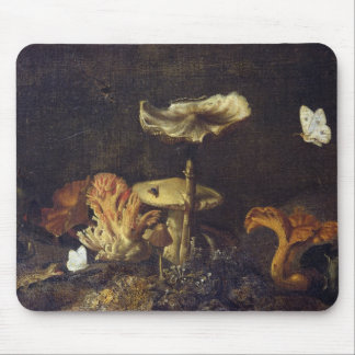 Still Life with Mushrooms and Butterflies Mouse Mat