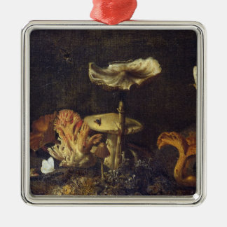 Still Life with Mushrooms and Butterflies Silver-Colored Square Decoration