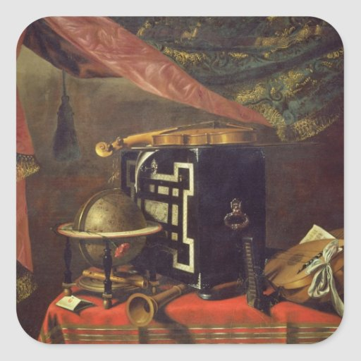 Still Life with Musical Instruments (oil on canvas Square Stickers