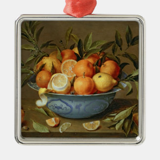 Still Life with Oranges and Lemons Silver-Colored Square Decoration
