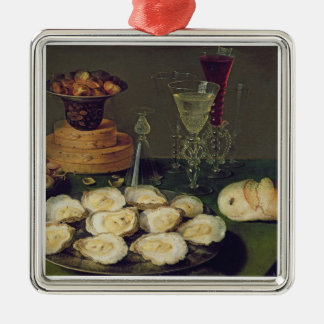 Still Life with Oysters and Glasses (oil on panel) Christmas Ornament