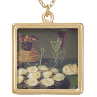 Still Life with Oysters and Glasses (oil on panel) Gold Plated Necklace