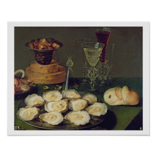 Still Life with Oysters and Glasses (oil on panel) Poster