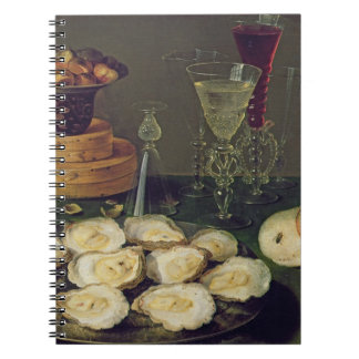 Still Life with Oysters and Glasses (oil on panel) Spiral Notebook
