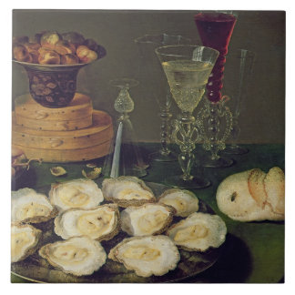 Still Life with Oysters and Glasses (oil on panel) Tile