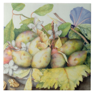 Still life with Plums, Walnuts and Jasmine (w/c on Tile