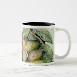 Still life with Plums, Walnuts and Jasmine (w/c on Two-Tone Coffee Mug