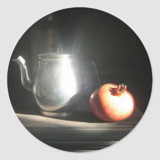 Still Life With Pomegranate and Tea Pot in Sunshin Round Sticker