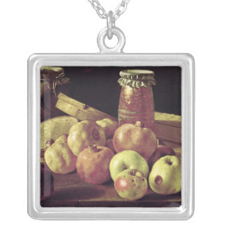 Still Life with Pomegranates Silver Plated Necklace