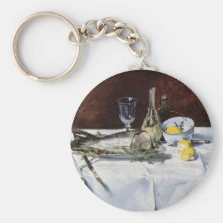 Still life with salmon - Edouard Manet Basic Round Button Key Ring