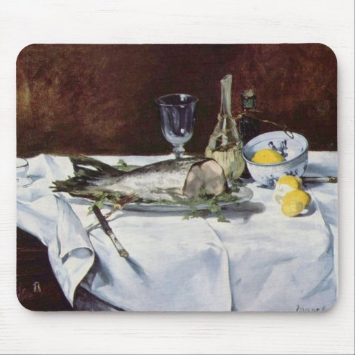 Still life with salmon - Edouard Manet Mouse Pads