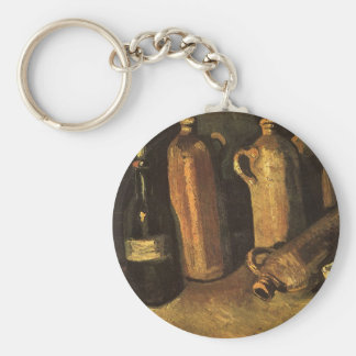Still Life with Stone Bottles by Vincent van Gogh Basic Round Button Key Ring