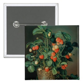 Still life with strawberries 15 cm square badge