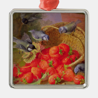 Still Life with Strawberries and Bluetits Christmas Ornament