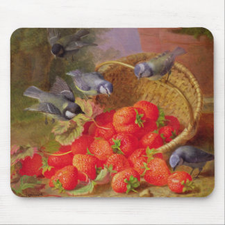 Still Life with Strawberries and Bluetits Mouse Mat